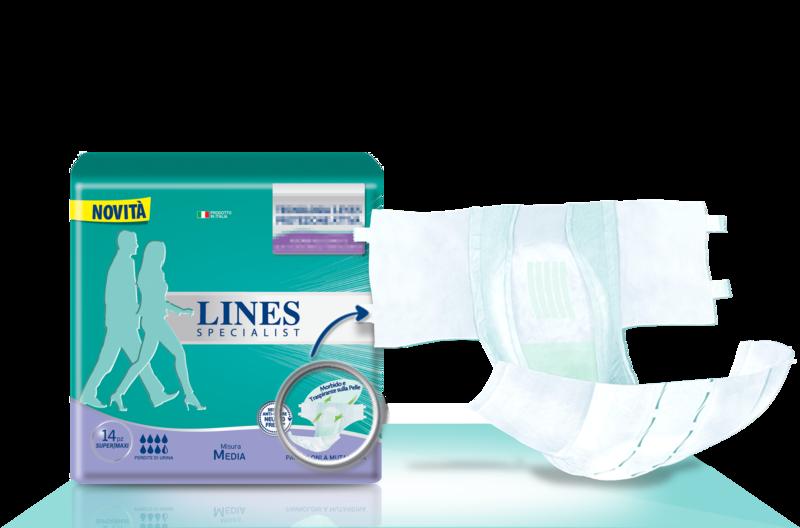 Acquista online Lines Specialist Pannolone a Mutandina Super/MaxiUltra Mini   Linea prodotto Alte per uomo e donna. Lines Specialist, prodotti per perdite di urina Pannolone a Mutandina Super/Maxi
