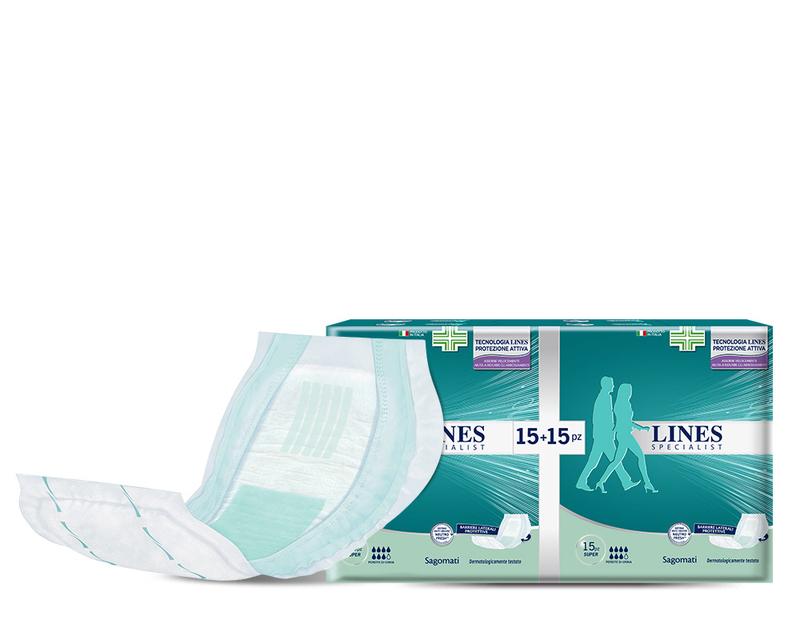 Acquista online Lines Specialist Sagomato Plus Ultra Mini | Linea prodotto Alte per uomo e donna. Lines Specialist, prodotti per perdite di urina Sagomato livello Plus