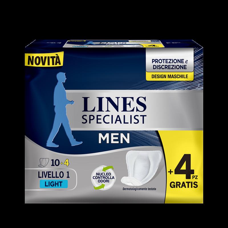 Acquista online Lines Specialist Assorbente maschile | Linea prodotto per uomo. Lines Specialist, prodotti per perdite di urina Assorbente maschile - Livello 1 Light