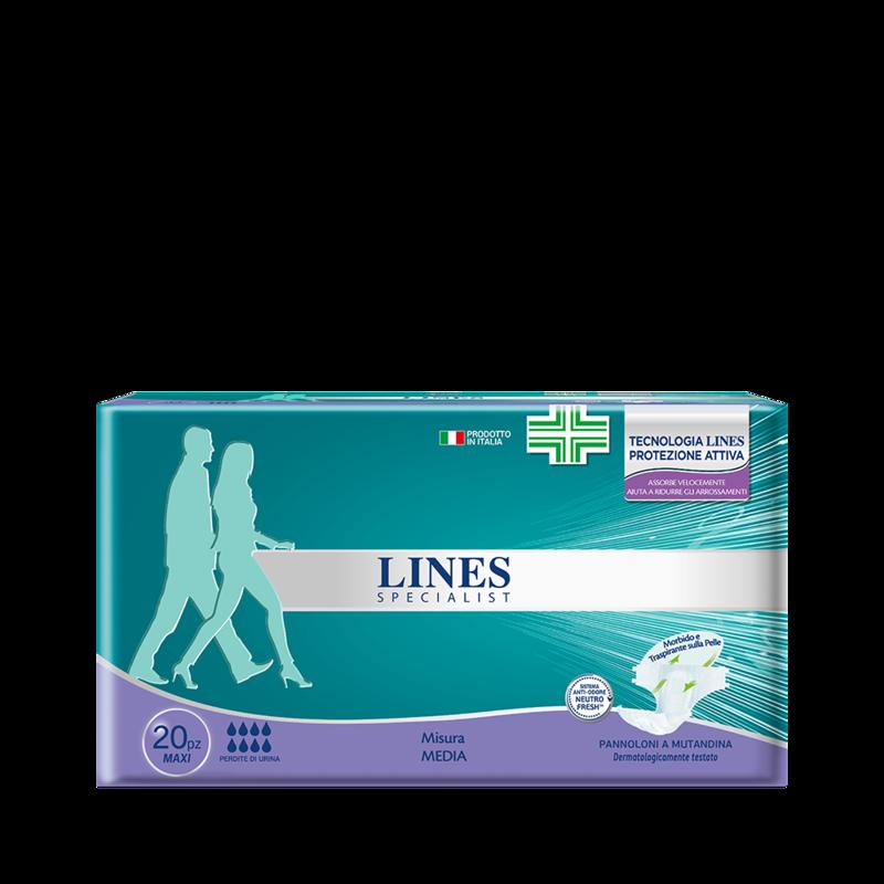 Acquista online Lines Specialist Pannolone a Mutandina MaxiUltra Mini | Linea prodotto Alte per uomo e donna. Lines Specialist, prodotti per perdite di urina Pannolone a mutandina livello Maxi - taglia media