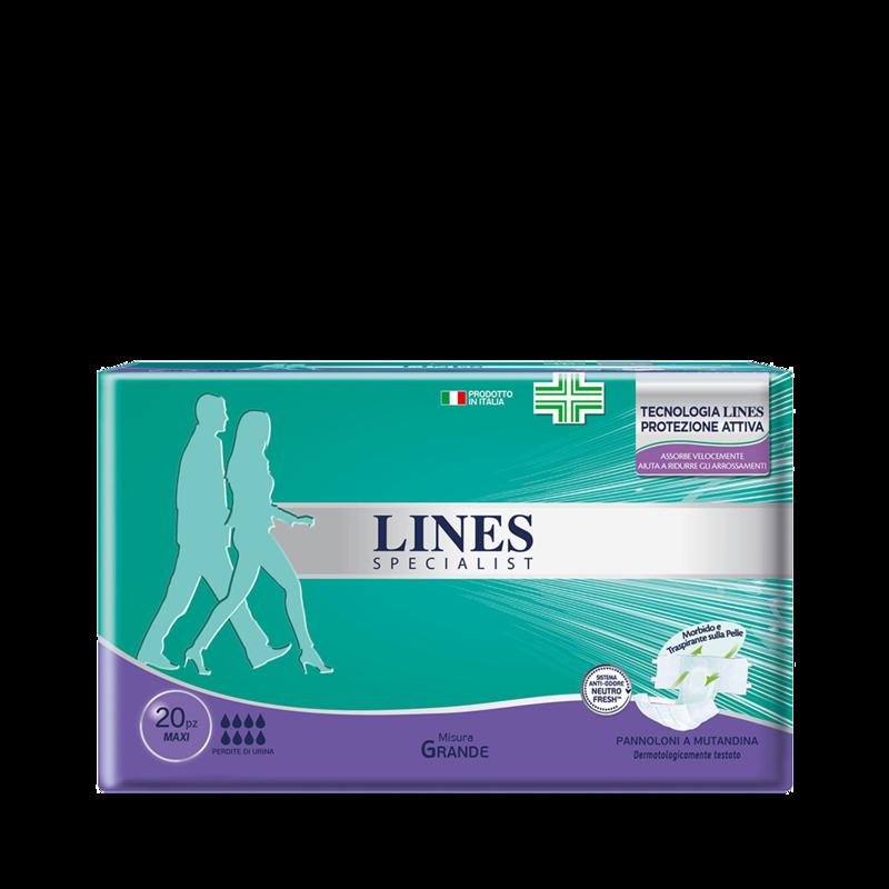 Acquista online Lines Specialist Pannolone a Mutandina MaxiUltra Mini | Linea prodotto Alte per uomo e donna. Lines Specialist, prodotti per perdite di urina Pannolone a mutandina livello Maxi - taglia grande